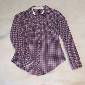 GAP Plaid Fitted Snap Up Western Long Sleeve Shirt